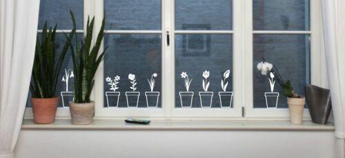 Blumen im Topf 7er Set Frühling Fenstersticker Aufkleber Dekoration Wandtattoo
