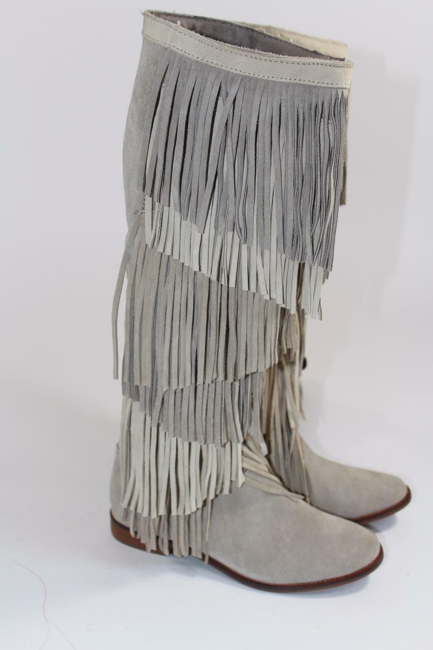 ZARA SUEDE LEATHER FRINGED KNEE HIGH BOOTS FLATS SIZE 7065/001 UK3 EUR36 US6 REF 7065/001 SIZE 18c82a