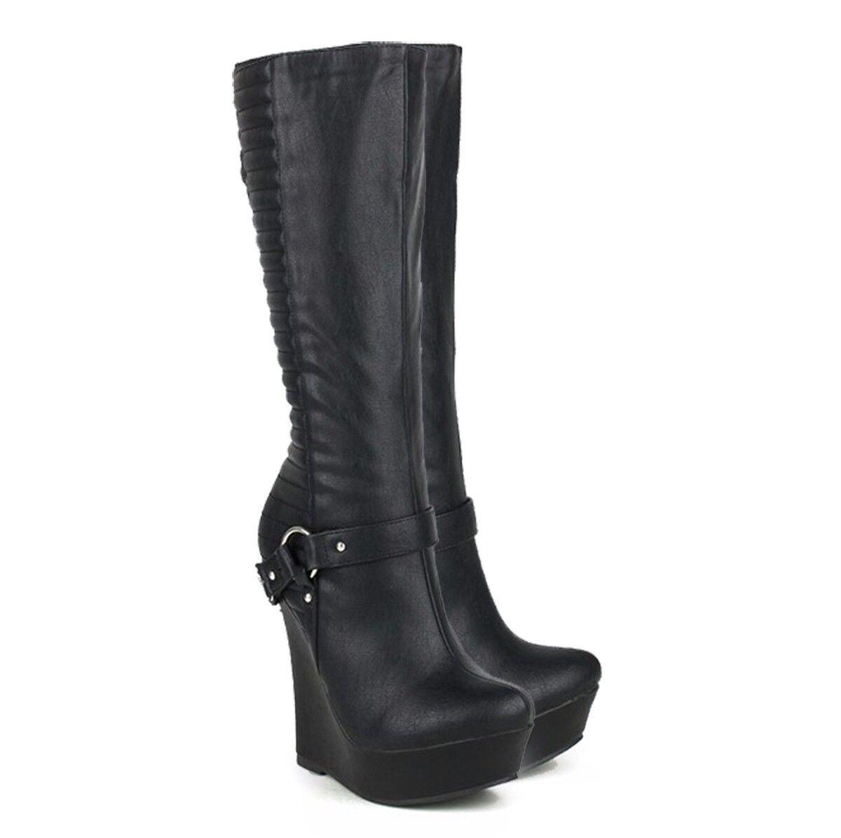 Women's Punk Mid-Calf Boots Platform Wedge High High High Heels Round Toe Buckle shoes 8914d2