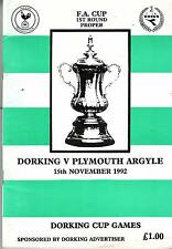 DORKING V PLYMOUTH FA CUP 1992 VGC 5 GOALS. WHO WON? – SEE DESCRIPTION!