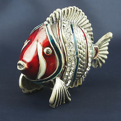 Trinket Box FISH Pewter Jewelled Crystals Red Green White Silver Hinged lid 5cm