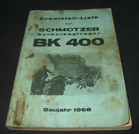 Ersatzteilliste Schmotzer Bunkerköpfroder BK 400 Baujahr 1968 ET Liste