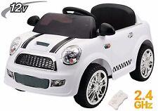 Auto Macchina Elettrica Bambini Mini Car Soft Start Radiocomandata 12V Bianca
