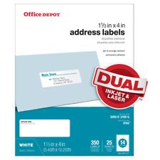 Office Depot Inkjetlaser Address Labels 1 13 X 4 White 350 Pack Dual