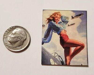 """Miniature Dollhouse  Pin up Girl Poster 1.5/"""" 1//12 World war Rosie Rivet"""