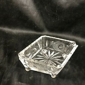 Vintage Clear Depression Glass Footed Etched Ashtray Diamond Shape