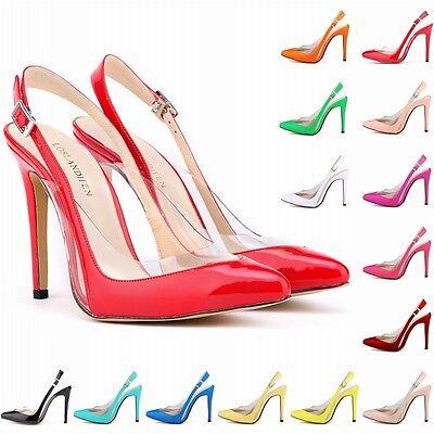 Womens Patent High Heels Ankle Strap Sandals Pumps Court Shoes Sandals Size 2- 9
