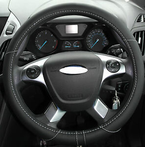 Black-Real-Genuine-WNB-Soft-Leather-Look-Grip-Car-Steering-Wheel-Cover-Glove-325