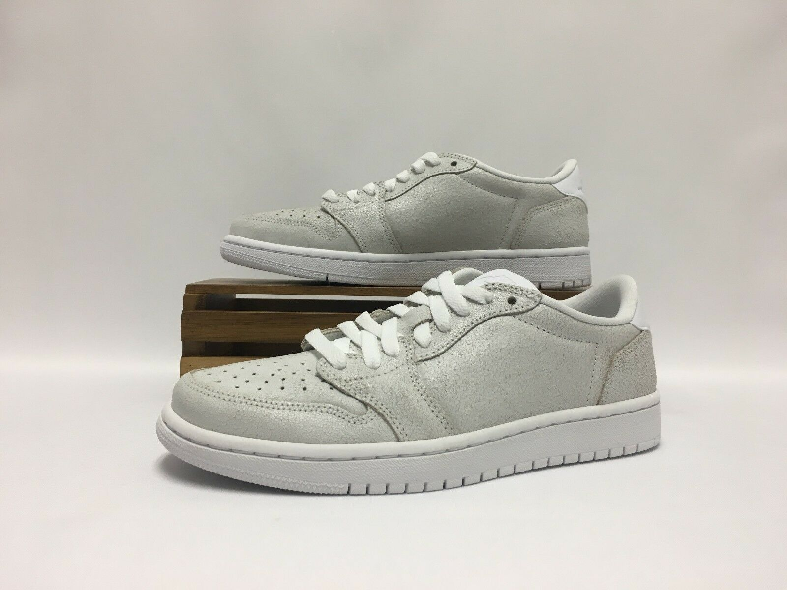 Nike Air Jordan 1 Retro Low NS White Gray AH7232-100 No Swoosh Women's NEW DS