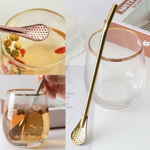 Pro Tea Steel Bombilla Filter Spoon Drinking Yerba Mate Straw Gourd