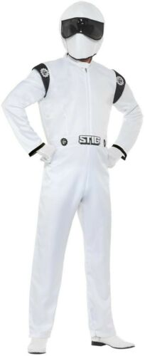 Men/'s Top Gear The Stig Fancy Dress Costume Formula 1 Driver Mystery Stag Theme