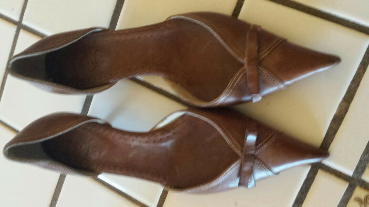 SARA S JEY WOMEN'S BROWN  LEATHER  Schuhe IN SIZE 36  MADE IN Schuhe ITALY GENTLY USED WOW e1ec5d