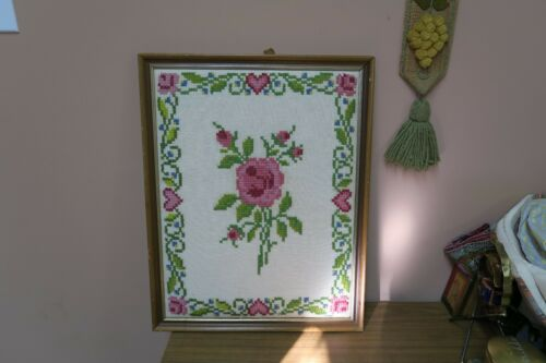"Vintage Hand Made Cross Stitch Embroidery 15"" x 20"" 17"" x 22"""