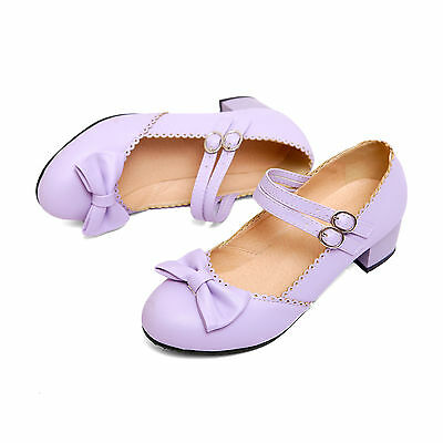 Womens Lolita Mary Jane Dress Bowknot Ankle Strap Low Heels Party Shoes Plus SZ
