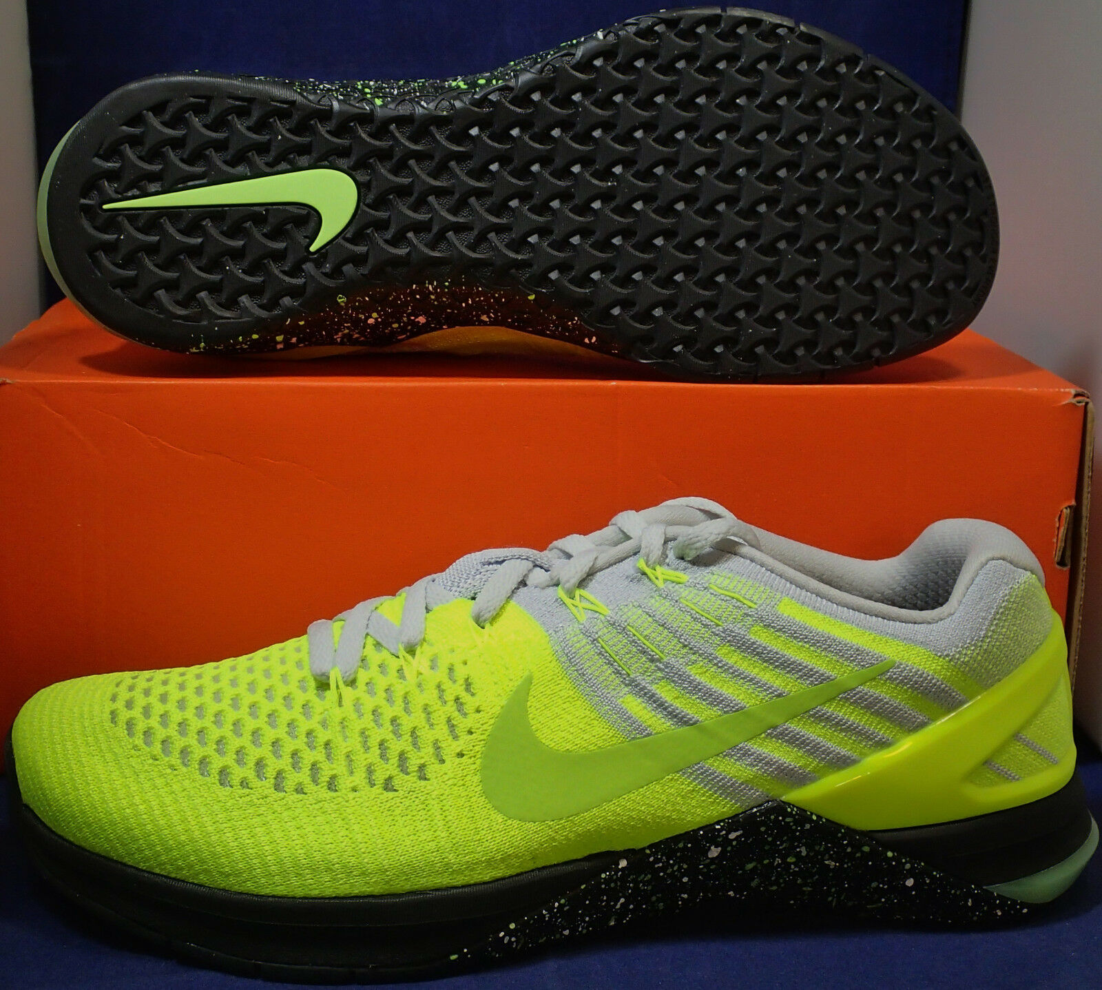 Nike Metcon Metcon Metcon 3 DSX Flyknit Volt Pure Platinum nero CrossFit SZ 9 ( 852930-701 ) 4bf09f