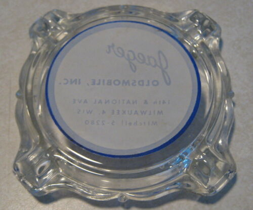 1950/'s Jaeger Oldsmobile Milwaukee WI Glass Advertising Ashtray Mint Never Used