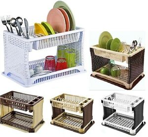 2-TIER-RATTAN-MODERN-DISH-DRAINER-CUTLERY-HOLDER-FOLDING-RATTAN-PLASTIC-KITCHEN