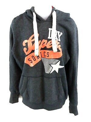 Superdry Mens Hoodie Jumper S Small Grey Cotton & Polyester