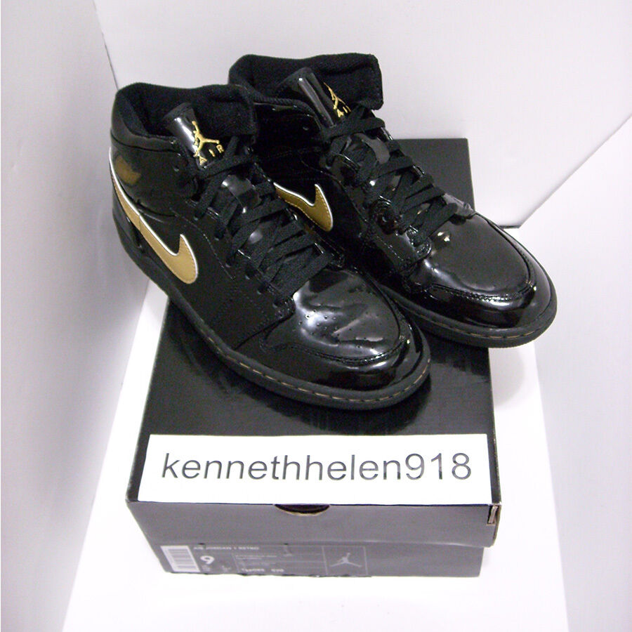 NEW 2003 NIKE AIR JORDAN 1 RETRO PATENT LEATHER BLACK gold 136085-070 SIZE 9