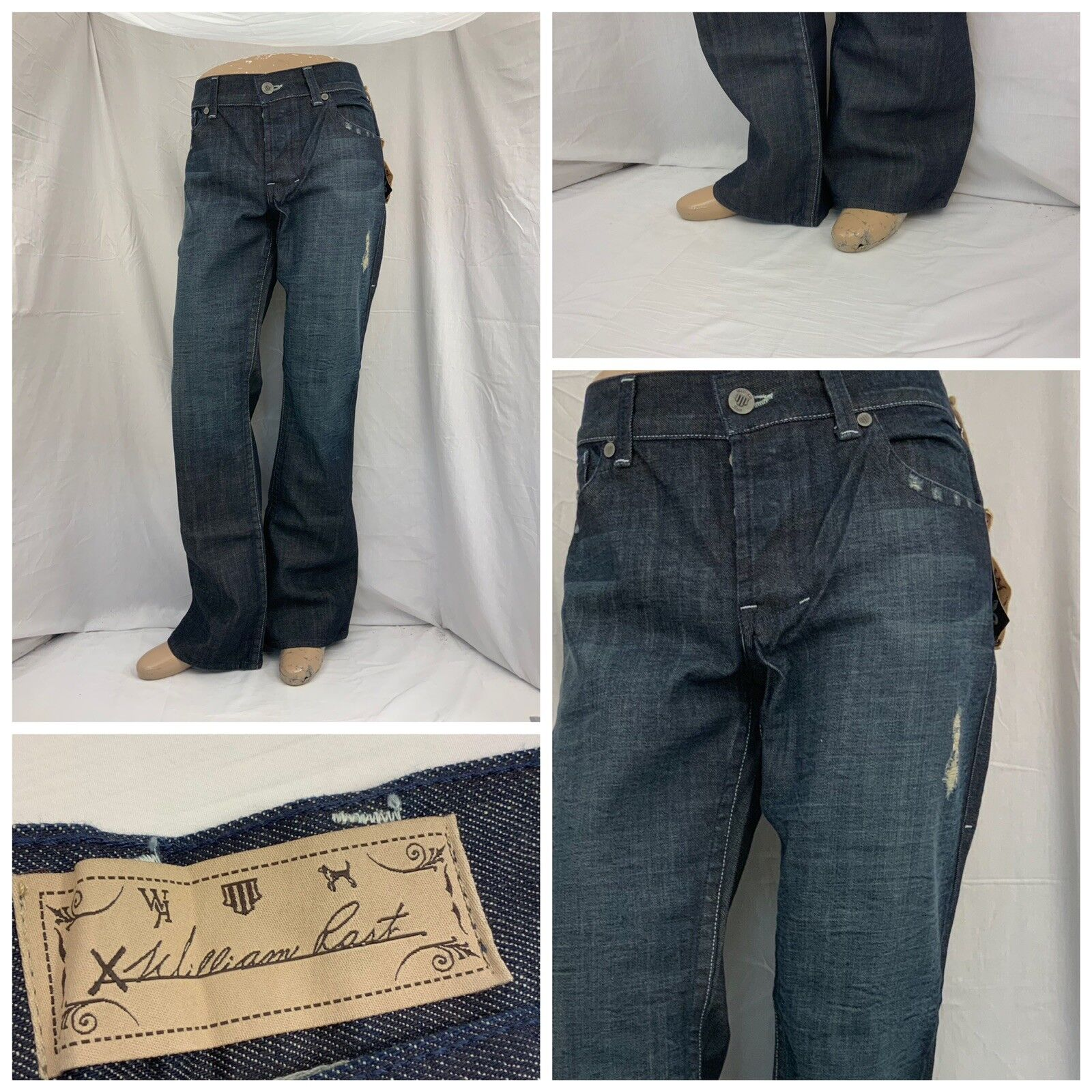 William Rast Jeans 36x34 bluee Dark Wash Cotton Poly Made In USA NWT YGI Y8-262CG