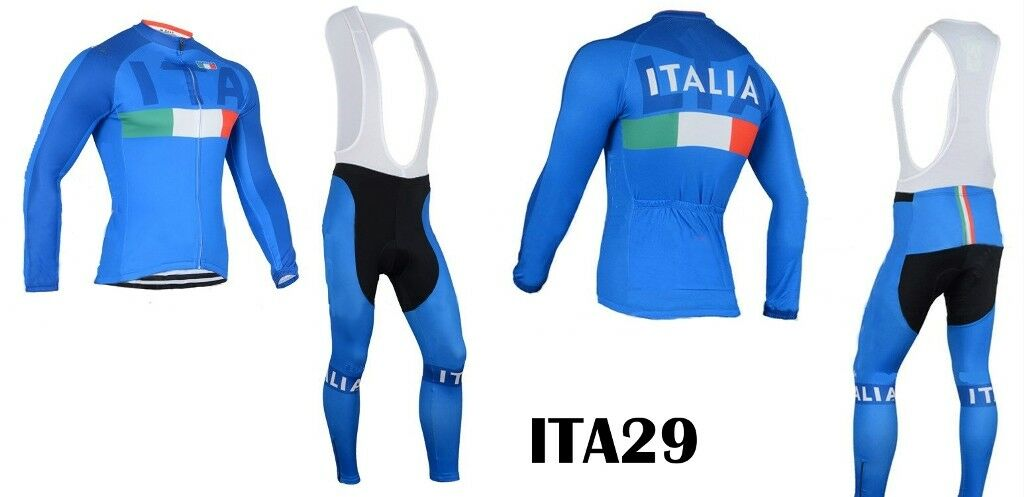 CICLISMO SET INVERNALE ITALIA 2019 ITALY LONG SET FLEECE CYCLING WINTER WINTER CYCLING BIKE 18 a26f07