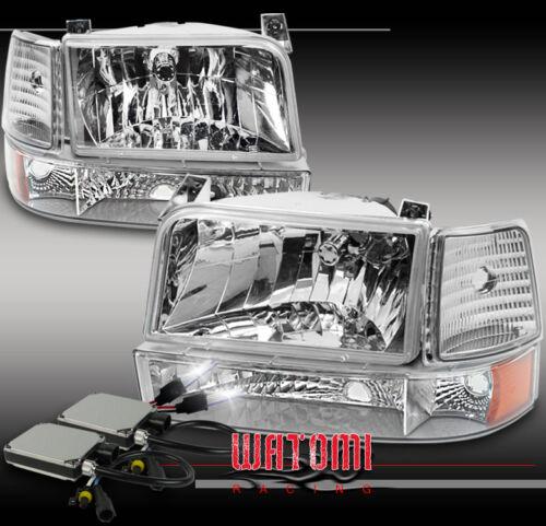92-96 FORD BRONCO F150//250//350 CHROME CRYSTAL HEADLIGHT+BUMPER+CORNER+6K HID KIT