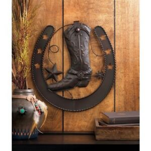 Metal Star Wall Art welcome sign star country western cowboy boot horse shoe metal
