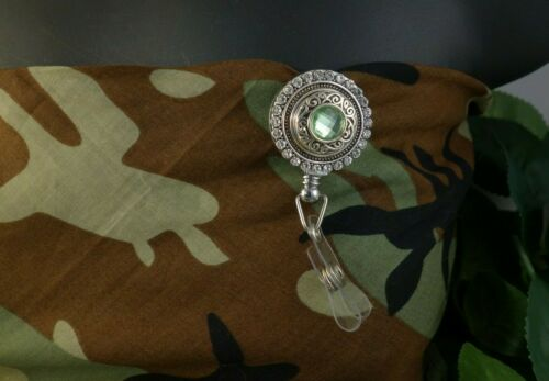 PERIDOT GREEN bling snap Retractable Badge Reel w//CHAIN Pull ID Holder