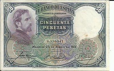 SPAIN LOT 5x 25 PESETAS 1931 P 81 4RW 30MAR F-FV CONDITION