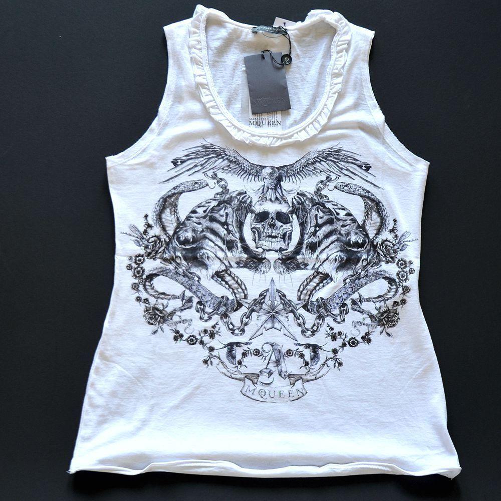Alexander McQueen New sz 4 - 40 Authentic Womens Designer Skull Tank Top white