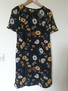 Floral-2-capa-de-Gasa-Vestido-Talla-10-nuevo-Lool
