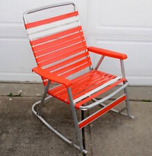 Vintage Aluminum Orange & White Rubber Strap Folding Lawn Patio Chair ROCKER #2