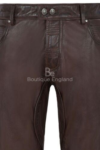 PANTALONE uomo in pelle marrone Elegante Fashion Designer Morbido Pantaloni Slim Fit 4669