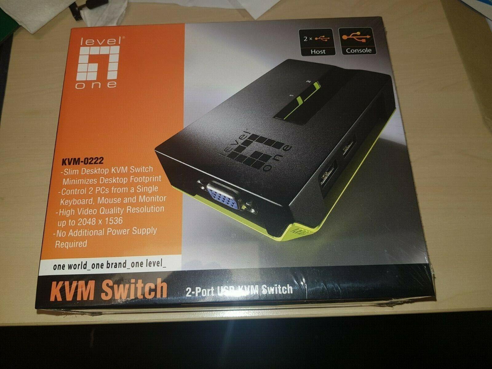 Level One KVM 0222 2 Port USB Switch w/ Audio