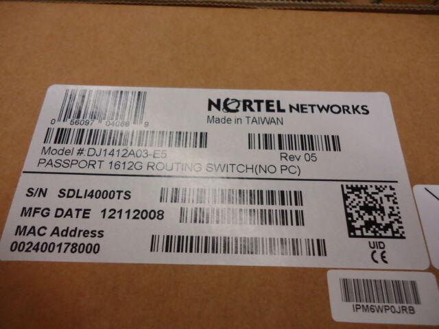 DJ1412A03-E5 NORTEL NETWORKS PASSPORT 1612G ROUTING SWITCH BRAND NEW!