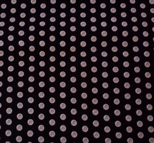 Thimble Pleasures BTY Dan Morris Quilting Treasures Beige Buttons on Black