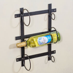 Wall Mounted 3 Bottle Wine Rack Black Metal Wire Storage Holder