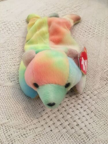 Ty Beanie Babies Sammy Bear  Pastel Tie Dye 1999 PE Tag Excellent MWMT