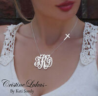 Initials Necklace W/ Celebrity Style Sideways Cross In Silver Or White Gold