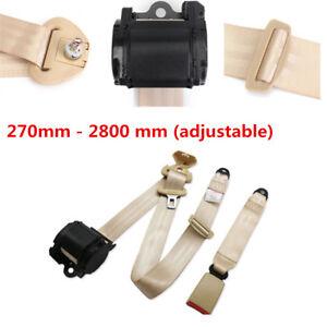 Automatic Beige 3 Point Retractable Safety Straps Car Auto Seat Belt Buckle Kits