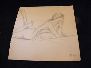 Charitable Sketch Pencil Naked On Belly André Simon 1926-2014 Artist Lorraine 2002 Good Companions For Children As Well As Adults Art