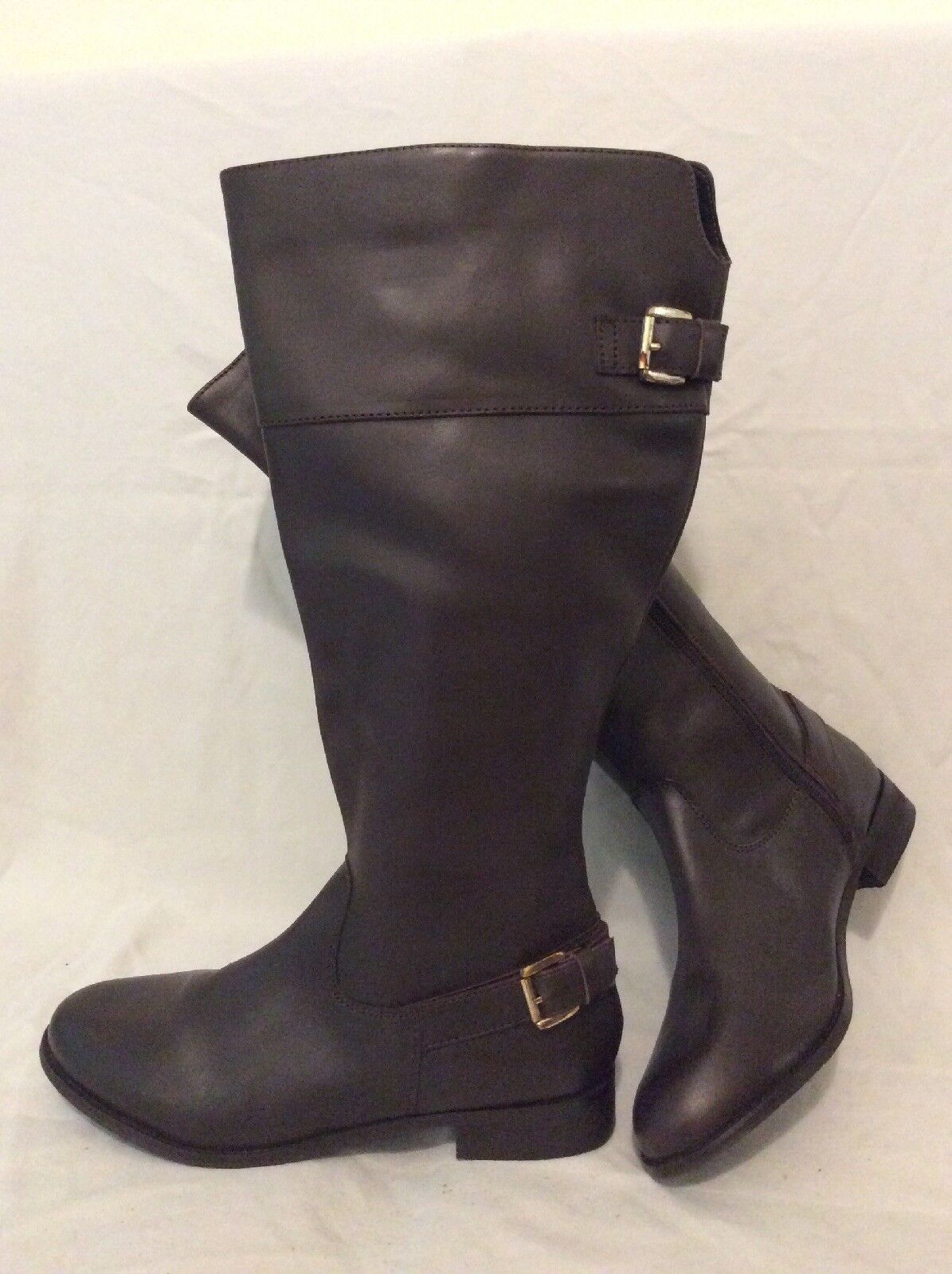 F&F Brown Knee High Leather Boots Size 6.5