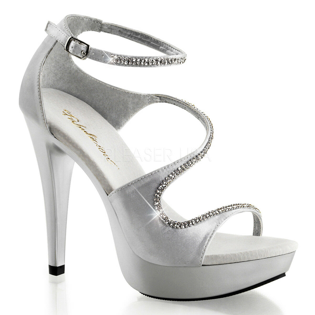Fabulicious COCKTAIL-526 chaussures argent Satin Ankel Strap Open Toe RS  High Heels