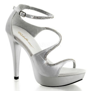 Strap Satin Fabulicious Toe Cocktail Chaussures Rs Hauts 526 Argent Open Talons Ankel oWrdCBxe