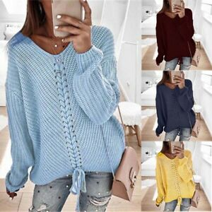 Neck-V-Women-039-s-Casual-Jumper-Knitted-Sweaters-Pullover-Lace-Tops-Blouse-Loose-Up