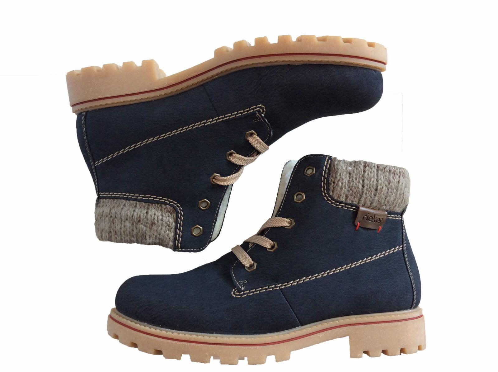 Rieker Stiefeletten Stiefel Stiefel Blau Schnürstiefel Winter Damen Schuhe 171272