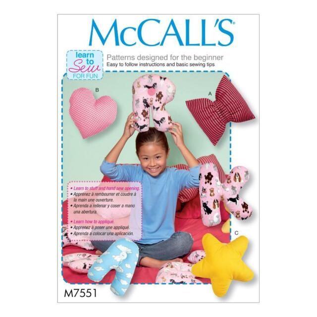 Mccall\'s Sewing Pattern Learn to Sew for Fun Letter Cushions Pillows ...