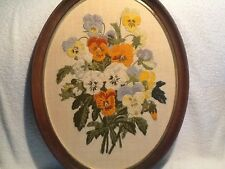 Pansies Crewel Embroidery Erica Wilson Columbia Minerva CM 1976 #7685 Framed