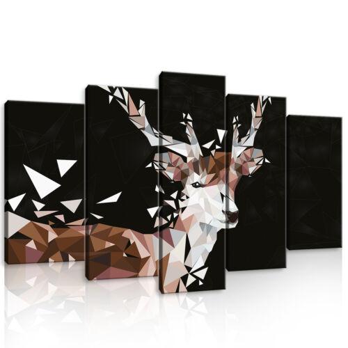 Set (5 pièces) Fabriquée la fresque Animal Hirsch géométrie art 3fx11405s17