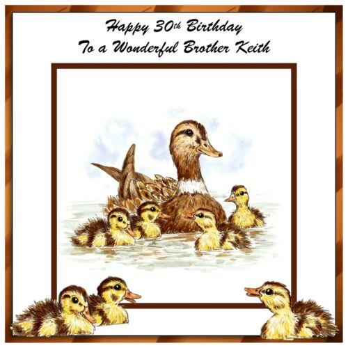Mens Handmade Personalised Birthday Card Duck Duckling Wildlife Bird River Pond